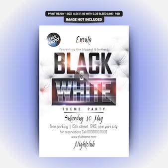 Flyer fiesta blanco y negro