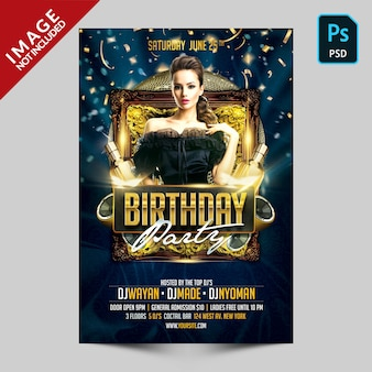 Flyer fiesta de cumpleaños azul oscuro