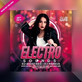 Flyer de fiesta electro sonidos
