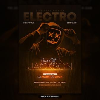 Flyer de fiesta electrónica o plantilla de póster de evento