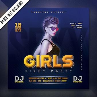 Flyer fiesta de noche de chicas psd