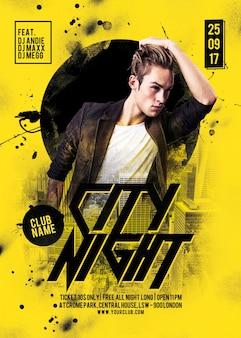Flyer de fiesta de la noche de la ciudad