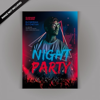 Flyer de fiesta de noche de dj