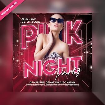Flyer de fiesta de noche rosa