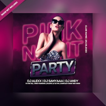 Flyer fiesta de noche rosa