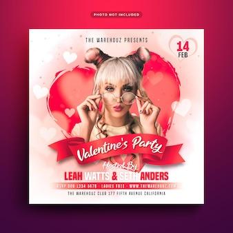 Flyer de fiesta de san valentín publicación en redes sociales y banner web