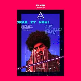 Flyer futurista cyberpunk con foto