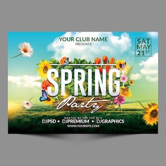 Flyer horizontal de fiesta de primavera