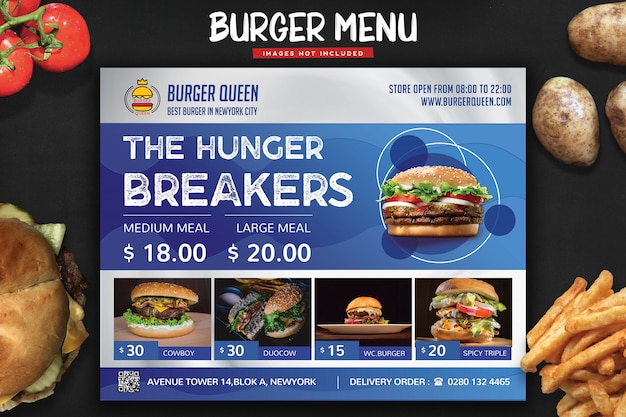 Flyer menu fast food