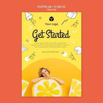 Flyer met gele dag concept
