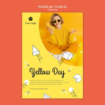 Flyer met gele dagthema