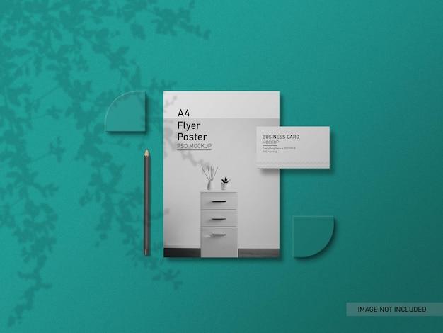 Flyer met mockup voor visitekaartjes