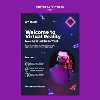 Flyer met neon virtual reality-bril