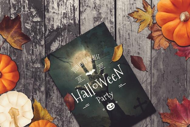 Flyer mockup met halloween design