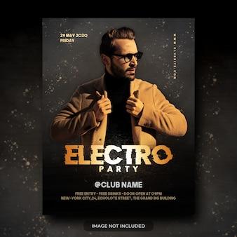 Flyer de noche electro fiesta