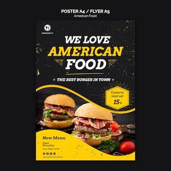 Flyer ontwerp amerikaans eten