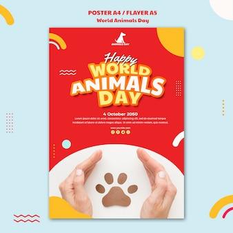 Flyer plantilla del día mundial de los animales