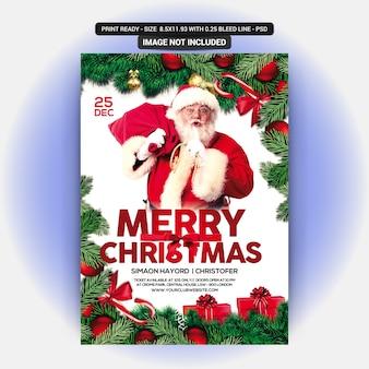 Flyer rojo para la celebración de la navidad