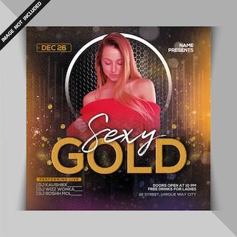 Flyer sexy fiesta de noche dorada