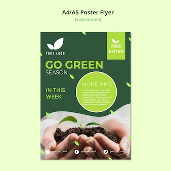 Flyer sjabloon concept van ga groen seizoen