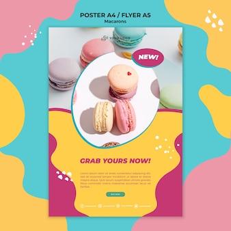 Flyer sjabloon macarons snoepgoed afdrukken