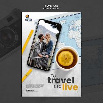 Flyer-sjabloon over de wereld reizen