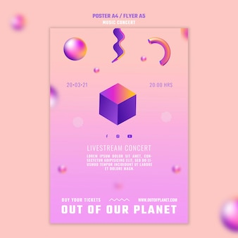 Flyer-sjabloon van out of our planet music concert