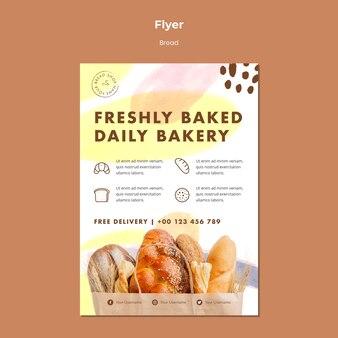 Flyer sjabloon vers gebakken dagelijkse bakkerij