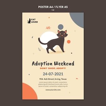 Flyer-sjabloon voor adoptie van katten