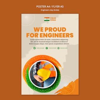 Flyer-sjabloon voor de viering van de ingenieursdag