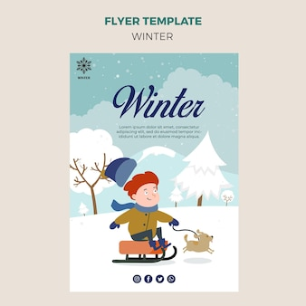 Flyer-sjabloon voor de winter met kind en hond