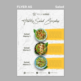 Flyer-sjabloon voor een gezonde salade-lunch