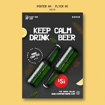Flyer-sjabloon voor het drinken van bier