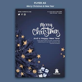 Flyer-sjabloon voor kerstmis en nieuwjaar