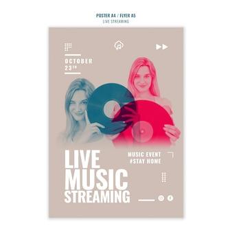 Flyer-sjabloon voor livemuziek streaming