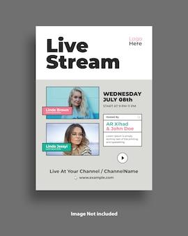 Flyer-sjabloon voor livestreams voor socia media post