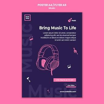Flyer-sjabloon voor muziekfeest