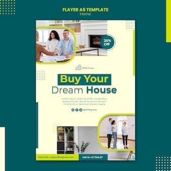 Flyer-sjabloon voor nieuwe gezinswoning