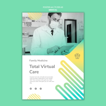 Flyer-sjabloon voor totale virtuele zorg