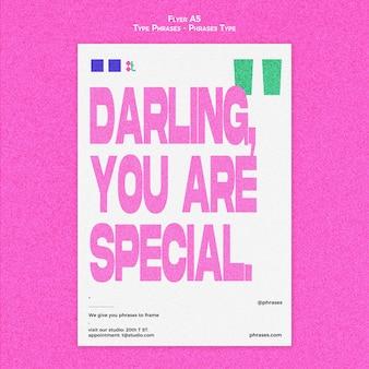 Flyer-sjabloon voor typefrases Gratis Psd