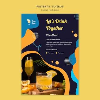 Flyer-sjabloon voor verschillende cocktails