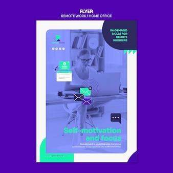 Flyer-sjabloon voor werken op afstand