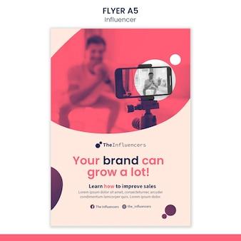 Flyer sjabloonontwerp voor influencers