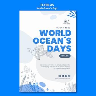 Flyer-stijl wereld oceaandag