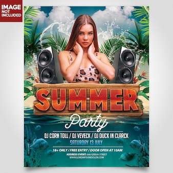 Flyer summer beach fiesta plantilla