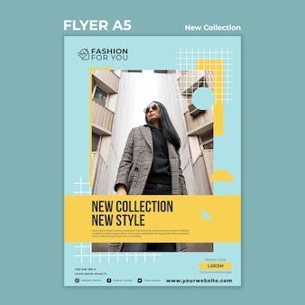 Flyer vertical para colección de moda con mujer en la naturaleza.