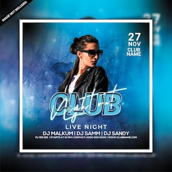 Flyer voor clubavondfeest of postsjabloon voor sociale media