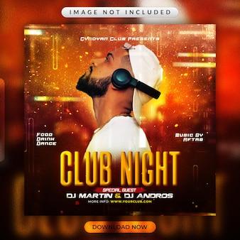Flyer voor clubavondfeest of promotiesjabloon voor sociale media