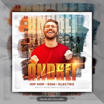 Flyer voor dj-muziekevenementen of banner voor sociale media