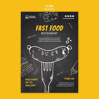 Flyer voor fastfoodrestaurants